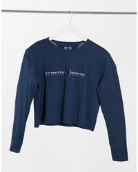 Tommy Hilfiger Long Sleeve Logo Jersey Top - Blue