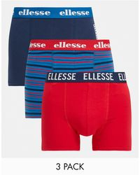 Ellesse 3 Pack Striped And Plain Boxers - Blue
