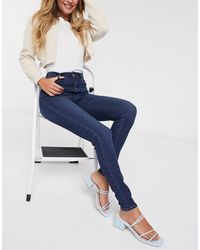 Pieces Laura - Skinny-fit Jeans Met Hoge Taille - Blauw