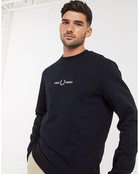 Fred Perry Sweater Met Geborduurd Logo En Ronde Hals - Zwart
