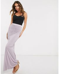 Missguided Ruched Fishtail Maxi Skirt - Purple