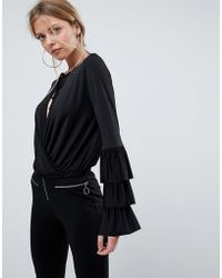 ASOS - Wrap Front Top With Frill Sleeves And Tie Neck - Lyst