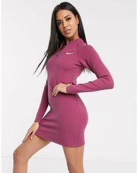 Nike Long Sleeve Mauve Mini Dress-black - Pink