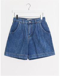 Mango Slouchy Denim Shorts - Blue