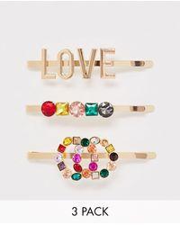 ALDO Devoa Rainbow Color Love And Diamante 3 Clip Multipack - Metallic
