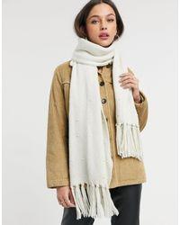 Oasis Sciarpa color crema con perle - Bianco