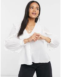 ASOS Ruffle Collar Blouse With Broderie Trim - White