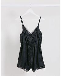 Brave Soul Satin V-neck Loungesuit With Lace Trim - Black