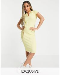 Missguided Ribbed Midi Dress With Collar - Yellow