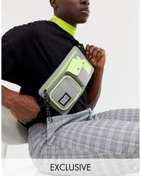 Reclaimed (vintage) Unisex Utility Multi Pocket Belt Bag - Grey
