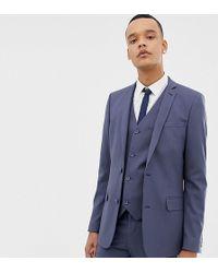 ASOS - Tall Slim Suit Jacket In Slate Blue - Lyst