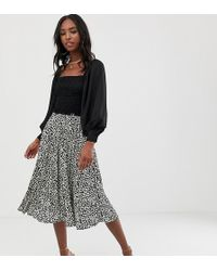 Missguided Pleated Irregular Print Midi Skirt Black