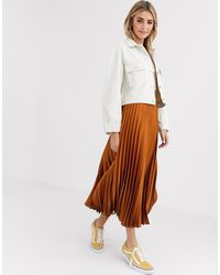 New Look Satin Pleated Midi Skirt In Rust - Red