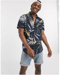 BOSS by Hugo Boss Rash - Overhemd Met Korte Mouwen En Bladerprint - Blauw