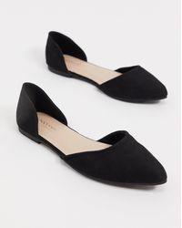 Accessorize - Zapatos planos en dos partes con puntera en punta en negro - Lyst