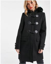 ASOS Duffle Coat With Faux Fur Trim - Black