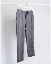 Pull&Bear Slim Fit Gingham Pant - Grey