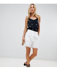 Warehouse - Broderie Hem Shorts In White - Lyst