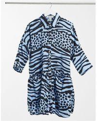 Liquorish Голубое Платье Мини В Стиле Oversized С Запахом И Звериным Принтом -голубой - Синий