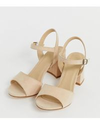 Truffle Collection Wide Fit Block Heel Sandals - Natural