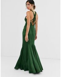 ASOS Maxi Dress With Fishtail Skirt And Macrame Back Detail In Satin - Green