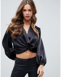 ASOS - Satin Plunge Top With Twist Front - Lyst