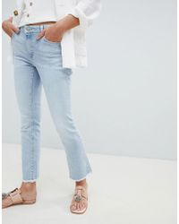 Mango - Frayed Hem Straight Leg Jeans In Blue - Lyst