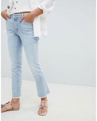 Mango - Frayed Hem Straight Leg Jeans In Blue - Lyst