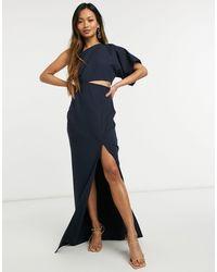 Vesper Платье Макси Темно-синего Цвета На Одно Плечо С Декоративным Вырезом И Разрезом Сбоку -темно-синий