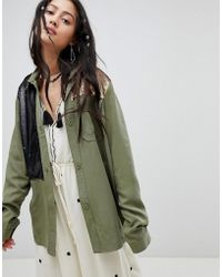 Native Rose - Festival Relaxed Military Shirt With Sequin Panels - Lyst