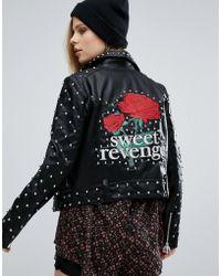 Pull&Bear Pull & Bear Star Studded Jacket - Black