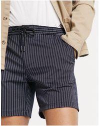 TOPMAN - Pantaloncini da infilare blu navy a righe - Lyst