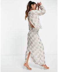 ASOS Jupe mi-longue drapée ornée - Blanc