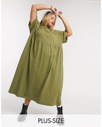 Collusion Plus Jersey Smock Maxi Dress - Green