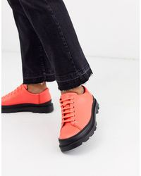 Camper Brutus Lace Up Flat Shoes - Red