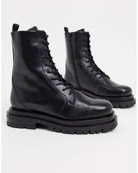 ASOS - Кожаные Премиум-ботинки На Шнуровке И Массивной Подошве - Lyst