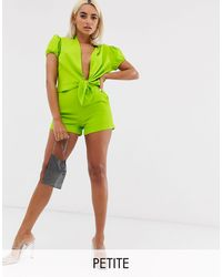 John Zack High Waisted Shorts With Belt Co Ord - Green