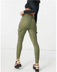 I Saw It First Ribbed Cargo Track Pants - Green