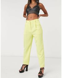 TOPSHOP Clean Straight Pants - Yellow