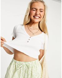 Pull&Bear Button Front Jersey Cropped T-shirt - White