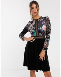 Little Mistress Embroidered Long Sleeve Skater Dress - Black