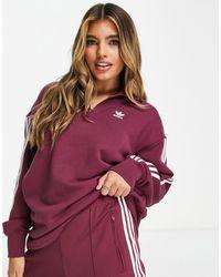 adidas Originals Adicolor - Sweatshirt Met Korte Rits En 3-stripes - Rood