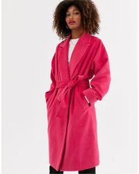 UNIQUE21 Пальто С Добавлением Шерсти И Поясом -розовый