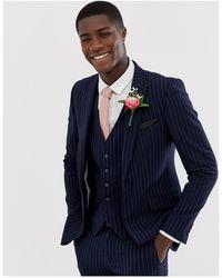 Burton – Marineblau gestreifte, enge Hochzeitsanzugjacke
