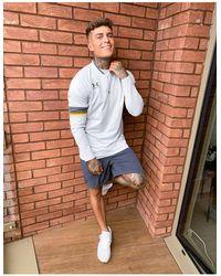Under Armour Top da calcio con zip corta grigio - Blu