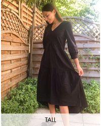 Y.A.S Черное Поплиновое Платье Миди -черный Цвет