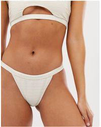 Miss Selfridge Stripe Lurex Tanga Brief - White