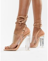 ab69c20e7ba Public Desire - Trance Blush Clear Detail Block Heeled Sandals - Lyst