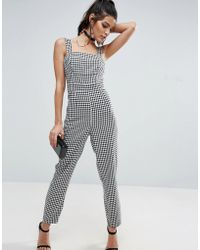 ASOS - Jumpsuit In Gingham Print With Structured Bodice - Lyst