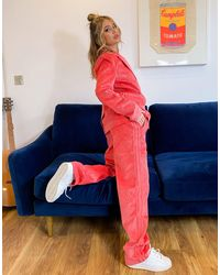 adidas Originals 'comfy Cords' Corduroy High Waisted Wide Leg Suit Trousers - Pink